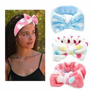 Yean Lot de 3 bandeaux à cheveux extensibles en polaire corail blanc pour maquillage, douche, spa, massage, yoga, sport