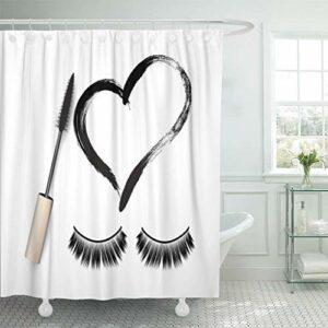 YEDL Cils Faux Cils Brosse Mascara Et Swatch Grunge Noir en Forme De Coeur Cosmétique pour Femme Eyeliner Rideau De Douche 180 × 180Cm
