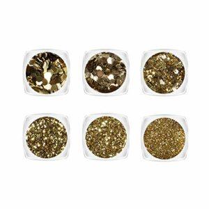 YOFASEN 6 pcs Chunky Glitter Visage Glitter – Nail Art Accessoires Paillettes Artisanat Sequin Mixte Set Joue Maquillage Lèvres DIY Décor Paillettes, Or 1