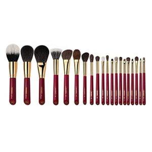 YSJSPKK Pinceaux de Maquillage Maquillage Brosse-Luxueux Rouge Rose série 20pcs pinceaux de Cheveux Animaux Set-cosmétique Pinceau-Maquillage Stylo Naturel (Handle Color : Red)