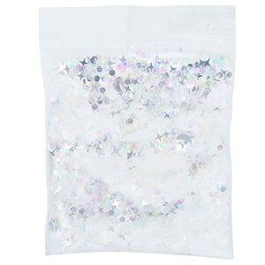 Zerodis Paillettes de Confettis étoiles, 10 G Pet Argent Mixte Fantaisie Paillettes pour Corps Visage Cheveux Maquillage Nail Art Mariage Bachelorette Nuptiale Douche Fête Décoration
