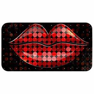 Z&Q Paillettes Lèvres Rouges Le Tapis de Bain Se Sent Bien sur Les Pieds fatigués et Aide à prévenir Les glissades (112 ventouses, 98 Trous de Drainage, séchage Rapide) 37.5×68.5 cm