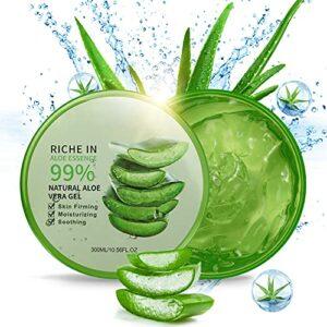 300 ML Gel d'Aloe Vera Bio – Crème Hydratante Naturelle, Hydratant pour Visage Corps Cheveux, Soins pour les Coups de Soleil, Réparer les Cicatrices, Apaisant et Anti-inflammatoire