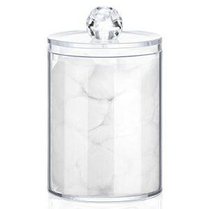 50 Pièces Petite Boule de Visage en Coton Boules en Coton Blanches Rondes Boules Cosmétiques Douces avec Pot de Rangement en Plastique Transparent pour Organisateur de Salle de Bain