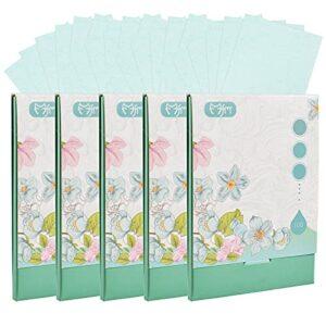 500 feuilles de papier absorbant l'huile de tissu absorbant l'huile Feuilles de papier buvard à l'huile douce pour accessoires de maquillage de voyage (Bleu)