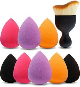 Amazon Brand – Eono 8+1 Pcs éponges de maquillage Sans Latex, hypoallergénique et sans odeur et Brosse contour, pour le fond de teint, la lotion, la crème et la poudre,