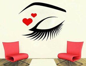 Avec coeur rouge Sticker mural yeux cils cils sourcils sourcils Salon de beauté vinyle autocollant maquillage chambre décoration-70x57cm