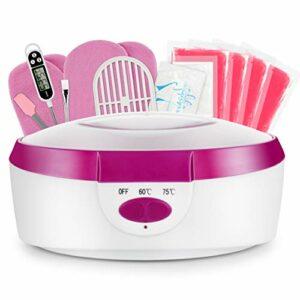 AYITOO Bain de cire pour les mains et les pieds avec accessoires, bain de cire électrique avec cire de paraffine, bain de cire pour les mains et les pieds, appareil 265 W – Rose