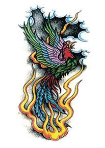 Bain De Couleur Feu Phoenix Oiseaux 15x21cm-3Pcs Autocollant De Tatouages Temporaires Autocollant D'Art Étanche Ensemble De Couverture Pour Hommes Adultes Femmes Enfants Étanche Amovible Non-Toxique