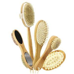 BRAVOSOLEIL Corps Brosse De Corps Scrubber Exfolier Massager 5 En 1 Long Manche Brosses De Toilette