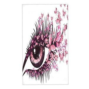 CIKYOWAY Essuie-Mains Fée Femme Yeux Papillons Cils Mascara Stare Maquillage De Fête Serviettes Absorbant Visage Séchage Doux Rapide Légères pour Hand Spa Gym,40X70cm Lot de 2