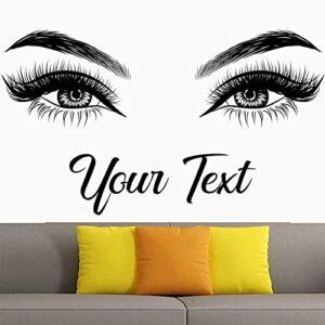 Cils sourcils sticker mural salon de beauté vinyle autocollant, texte personnalisé, sourcils, autocollant autocollant, citation des yeux, maquillage-99x57cm