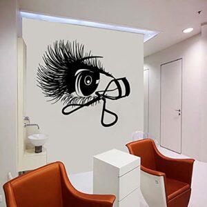 Cils Sticker mural Salon de beauté fille chambre décor intérieur fenêtre vinyle autocollant recourbe-cils cils sourcils Art mural-57×60 cm