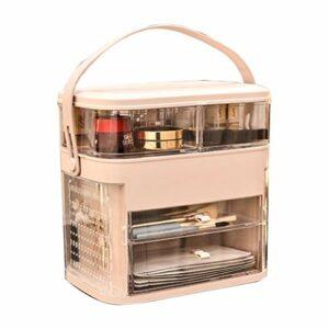 Cosmétiques boîte de Rangement Grande Table de Toilette Bureau capacité de Soins de la Peau de Finition Rouge à lèvres Rack de Stockage de Bijoux (Color : Pink)