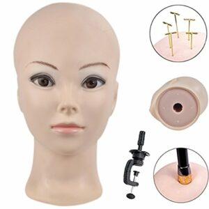 ERSIMAN Maquillage Chauve Tête de Formation Cosmétologie Mannequin Mannequin Tête pour Perruques Fabrication et Affichage avec Pince Gratuite