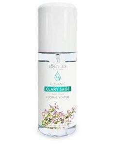 Essences Bulgaria – Eau Florale Biologique de Sauge Sclarée – 100% Naturel, Spray Pour le Visage, Le Corps, Les Cheveux – Excellent Après-Rasage (140 ml)