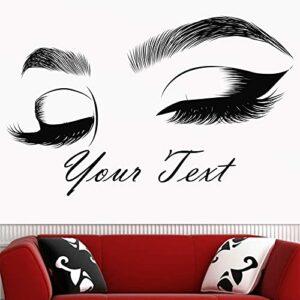 Extension de cils Salon de beauté Décor Autocollant Make Up Room Wall Art Cosmétique Beauté Logo Art Affiche-92x57cm