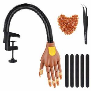 FancyWhoop Main de pratique pour les ongles, Kit de main flexible pour entraînement des ongles à main réglable pour acrylique et faux ongles pratique avec 100 embouts