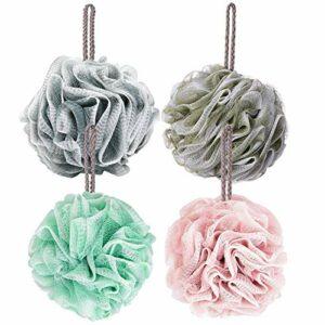 Frdzsw Lot de 4 éponges en luffa pour bain et douche, avec brosse en maille exfoliante pour le corps, soin de la peau