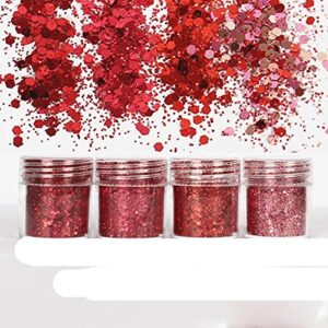 Glitter Nail Art Dust Tool 1Jar Red Mix Series Nail Sequin Shinny Nails Poudre Paillette Pour Visage Corps Yeux Ongles Décor Outils-222 10 ml