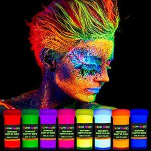 GLOW MAGIC Peinture pour le corps UV Neon – 8 x 20,7 ml – Black Light Make Up – Bodypaint Peinture pour le visage et les doigts