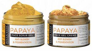 Gommage visage à la papaye et crème pour le visage à la papaye