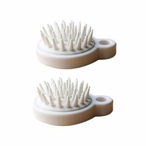 Healifty Lot de 2 brosses à cheveux en silicone avec manche pour stimulation des cheveux Blanc