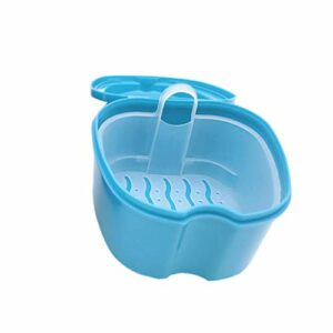 Hemoton Boîte De Prothèse Prothèse Bain Dentaires Cas Faux Dents Boîte De Rangement avec Filet Suspendu Récipient (Bleu Clair)