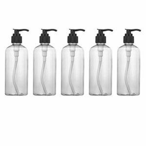 Hemoton Lot de 5 bouteilles de lotion vides avec pompe distributeur de shampooing, bouteilles de liquide pour crèmes douche, gel de bain, huile essentielle 300 ml Los 5.8×5.8×16.8cm Noir