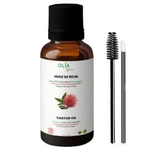 Huile de Ricin 100 ml, 100% pure, naturelle, bio, pressée à froid. Soins de cheveux pour femme et homme. Hydrate, renforce et nourrit les cils, sourcils, ongles et la barbe.