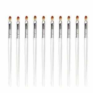 Jetable, commodité 10pcs / sac, 5 sacs en 1 Pack, 50pcs pinceau à lèvres rouge à lèvres brillant bâton applicateur maquillage brosse outils design de mode Pinceaux à lèvres (Color : White Silver)