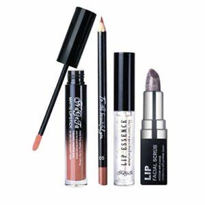 Katpost Lot de 4 Pcs Mat Liquide Rouge à Lèvres Maquillage Waterproof Beauté Brillant Rouge à Lèvres Lip Gloss(Ensemble de lèvres – Scrub Stick + Essence + Crayons à lèvres + Lip Gloss)