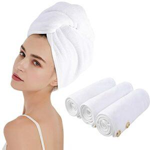 KinHwa Microfibre Séche Serviette Cheveux Enrouler Turban Soin Cheveux Serviette Bain Séchage Rapide Tordu pour Les Cheveux Mouillées 25cm x 65cm 3Pack Blanc