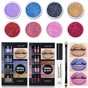 Kit de lèvres scintillantes Stay Golden, rouge à lèvres métallisé scintillant diamant 4 couleurs imperméable, ensemble anti-taches longue durée avec apprêt pour les lèvres et pinceau (A+B)