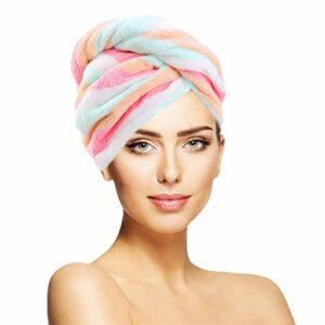 K-Park Lizefang Pratique Épais Et Épais pour Cheveux Secs Cap Forte Absorption d'eau Double Face Coral Fleece Serviette pour Cheveux Secs Couleur Arc-en-Ciel