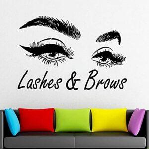 Lashes & Sourcils Sticker Fenêtre Autocollant Salon De Beauté Décoration Intérieure Femme Cils Sourcils Art Mural Vinyle Autocollants-42×61 cm