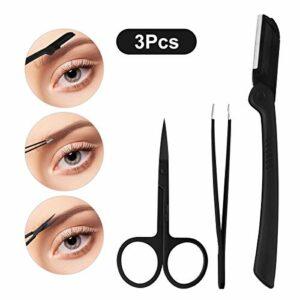 LEKADOL 3Pcs Sourcil Shaping Tool Set Costume de toilettage des sourcils avec des pincettes Ciseaux Rasoir à sourcils, acier inoxydable, noir