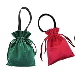 Lot de 2 sacs en velours avec cordon de serrage – Longue durée pour ranger les articles de toilette – Pour le salon – Pour les voyages – Avec cordon de serrage C