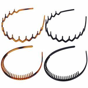 Lurrose Lot de 4 bandeaux dentaires en acrylique pour femme et fille (grosse dent noire + grosse dent brune + dent centrale noire)