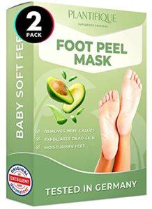 Masque pied Plantifique – Testées Dermatologiquement Peeling Pied Avocat pour soin des pieds – Efficace pour les callosités, les peaux mortes et sèches – Répare les talons crevassés – 2 Paires