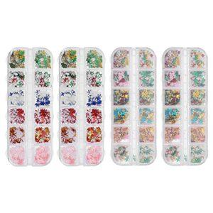 Minkissy 4 Boîtes De Noël Nail Glitter Coloré Flocon De Neige Charmes À Ongles 3D Nail Art Paillettes Décoration pour BRICOLAGE Nail