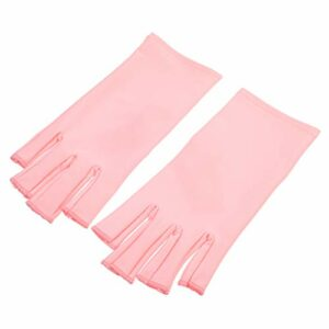 Minkissy Nail Lampe Gants UV Nail Gants Manucure Protection Gants Gel Soins Des Ongles Gants UV Protection Gants pour Gel Nail Lampe (Rose)