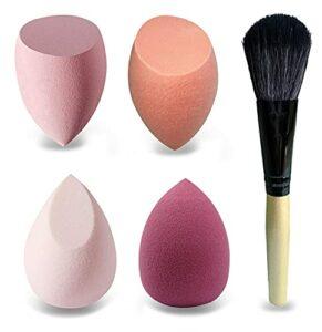 Mocarheri 4 pièces Éponges de Maquillage, Éponge douce pour fond de teint liquide, crèmes et poudres, œuf de maquillage humide et sec sans latex (série rose)