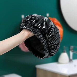 MVKV Bonnet de douche 100 % véritable double couche imperméable pour cheveux secs réutilisables (Noir)