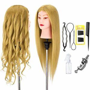 Neverland Beauty 56cm 100% Cheveux Naturels Têtes d'exercice Tête À Coiffer Coiffure Cosmétologie Pratique Mannequin Tête Poupée avec Support & DIY Hairdressing Outils Accessoires Set #27