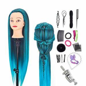 Neverland Tête de coiffure, 26-28 pouces 100% fibre synthétique tête de formation de mannequin de cheveux pour enfants pratique tressage tête de poupée de style avec accessoires + pince (bleu-noir)