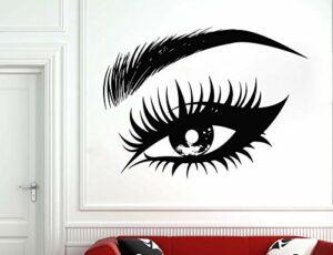 Oeil féminin vinyle sticker cils cils sourcils sourcils Salon de beauté mur vinyle autocollant maquillage fenêtre verre peintures murales-76x57cm