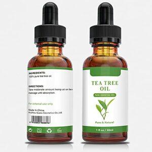 Ofanyia Huile d'arbre à thé Huile d'arbre à thé naturelle pour la peau Huile essentielle d'arbre à thé de qualité thérapeutique pour améliorer le teint de la peau, adoucir les cheveux