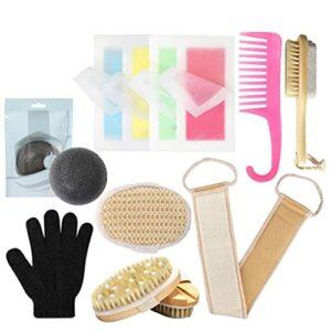 Ohomr Set Kit Exfoliant Corps de Douche avec Corps en Silicone Scrubber Massager Scalp Bain éponge Sangle pour Un Nettoyage en Profondeur Exfoliation