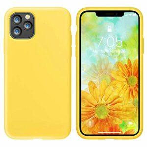 Oihxse Silicone TPU Gommage Case Compatible pour iPhone 12 Pro Max 2020 (6.7») Coque Ultra Fine Souple Protection Housse Mignon Couleurs Bumper Étui Anti-Rayures Cover(Jaune)